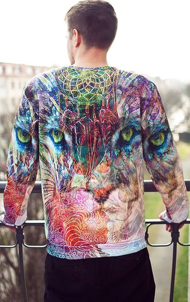 blouse swag tiger lion hipster hipster punk printed sweater