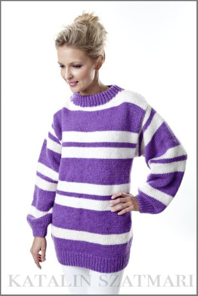 Sweater: striped sweater, white sweater, purple sweater, mohair ...