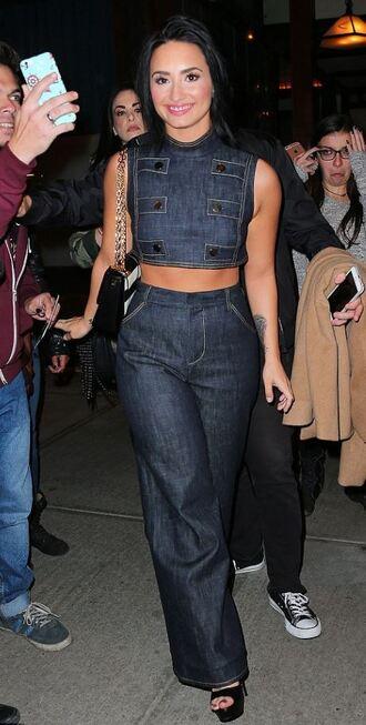 jeans top crop tops two-piece demi lovato wide-leg pants denim sleeveless top