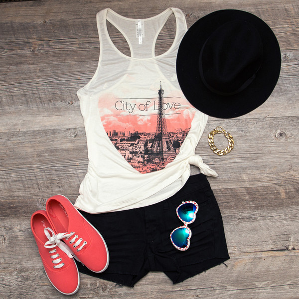 top paris top black hat tank top white tank top black high waisted shorts shorts sunglasses