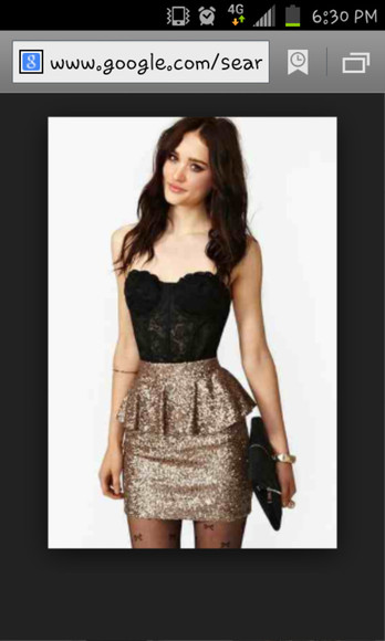 blouse corset top sequin dress black and gold dress