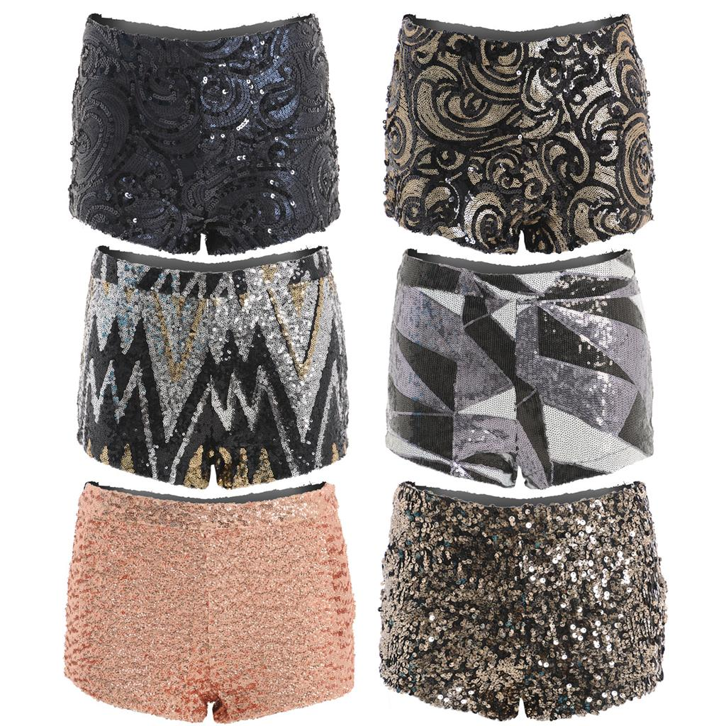 High Waisted Sequin Sparkly Party Bodycon Hotpants Shorts Knickers ...
