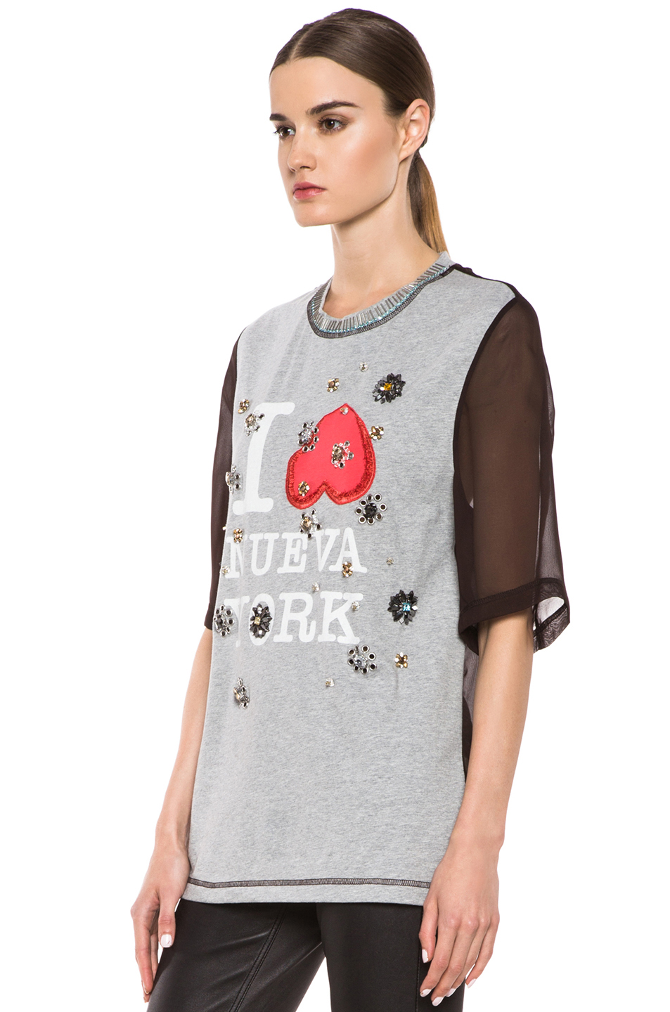 3.1 phillip lim | Nueva York Floral Eyelet Embroidery Tee in Heather Grey