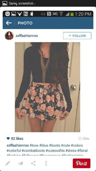shirt black crop top floral skirt gold necklace