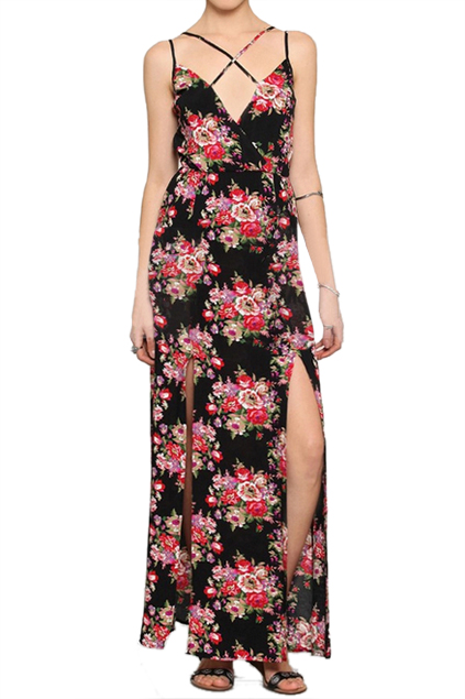 ROMWE | ROMWE Crossed Straps Floral Print Cut-out Longline Black Dress, The Latest Street Fashion