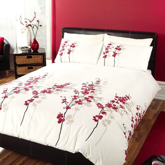 bedding red flowered home accessory jeans