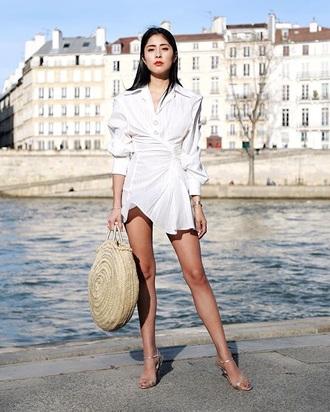 dress sandals bag straw bag white dress mini dress asymmetrical asymmetrical dress shirt dress