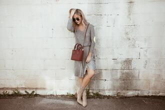 cara loren blogger sweater skirt bag sunglasses shoes jewels ankle boots