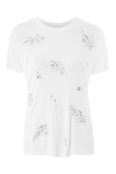 Topshop t-shirt shirt t-shirt embellished white top