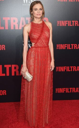 dress red dress red gown diane kruger lace dress prom dress long prom dress clutch