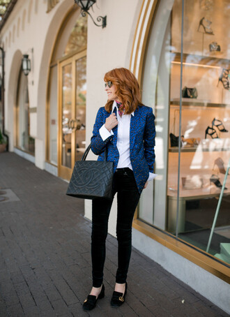 themiddlepage blogger jacket jeans shirt shoes scarf bag chanel bag blazer loafers fall outfits