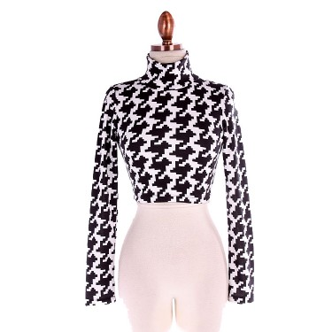 Black and White Houndstooth G Long Sleeve Crop Top - New Arrivals