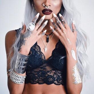 jewels red lipstick tattoo ring blouse underwear