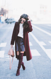 hello fashion,blogger,sunglasses,sweater,dress,hat,coat,jacket,shoes,handbag,nude bag,winter coat,thigh high boots,boots,winter outfits,tumblr,burgundy,long coat,winter date night outfit,date outfit,white sweater,skirt,mini skirt,black skirt,leather skirt,black leather skirt,over the knee boots,bag,pink bag