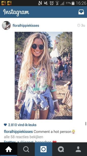 blouse jumpsuit bohemian shorts floral print blouse mint floral flowers pink