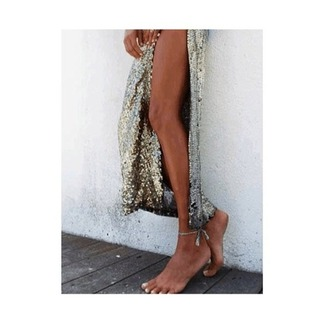 skirt sequins sequin skirt maxi slit silver gold shirt