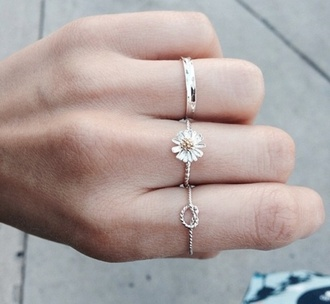 jewels ring hipster daisy rope ring flower and knot hair accessory flower ring cute ring gold ring knot