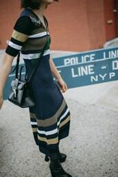 dress,tumblr,midi dress,stripes,striped dress,boots,bag,black bag,shoes