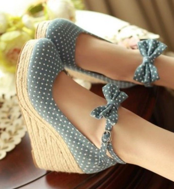 Ladies Sweet Polka Dot Ankle Bow Espadrilles Wedge High Heel Court Shoes 6612 | eBay