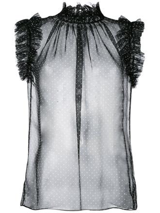 blouse sheer women black silk top