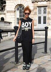 boy london,black tank top,black singlet,tank top