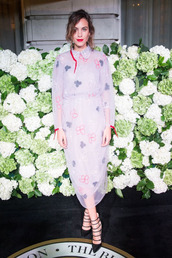 dress,alexa chung,london fashion week 2016,pumps,midi dress,shoes