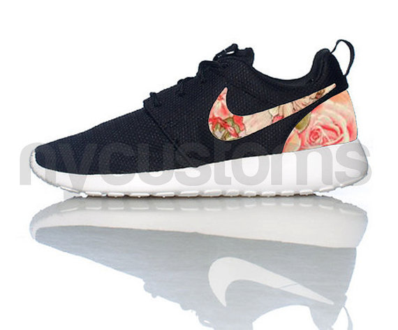 Free Shipping -- Nike Roshe Run Black White Rose Garden Fairies Floral Print Custom Womens