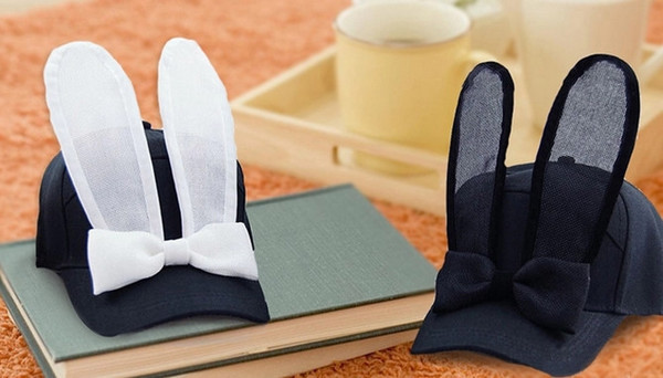 hat bow bunny cap cute kawaii black white fashion style pretty