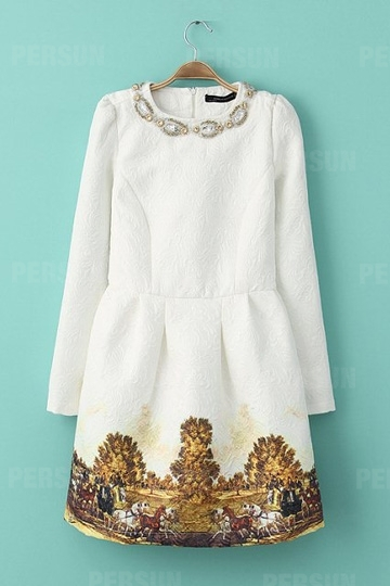 Hand-Beaded Sequins Embroidered Dress In White [SHWM00034] - PersunMall.com