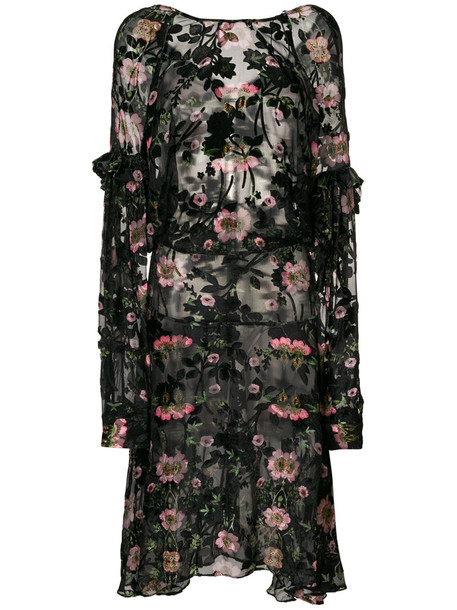 dress women floral black silk velvet