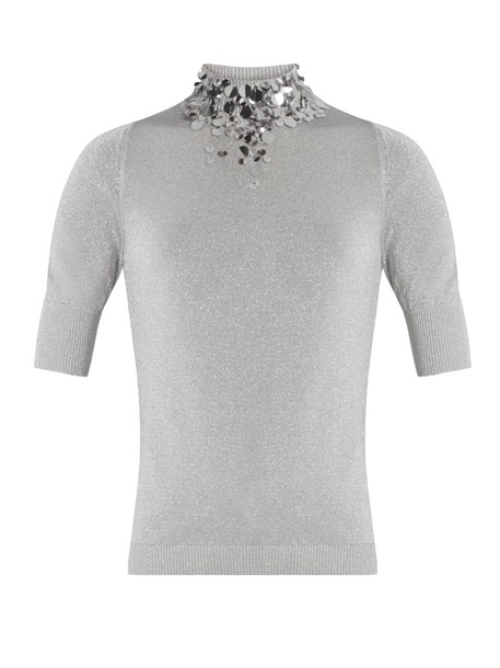 top embellished knit silver