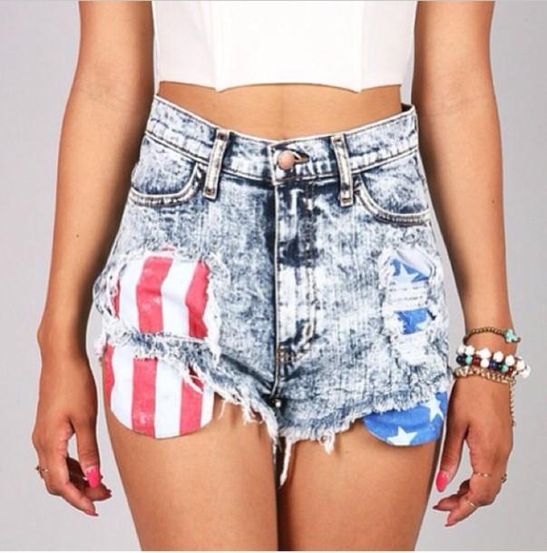 shorts High waisted shorts american flag shorts