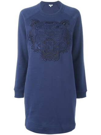 dress sweatshirt dress women tiger cotton blue