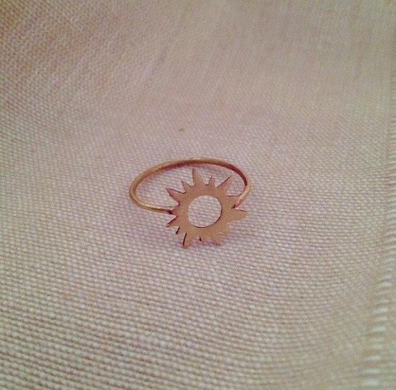 Brass Sun Ring by lilacsinthesunshop on Etsy