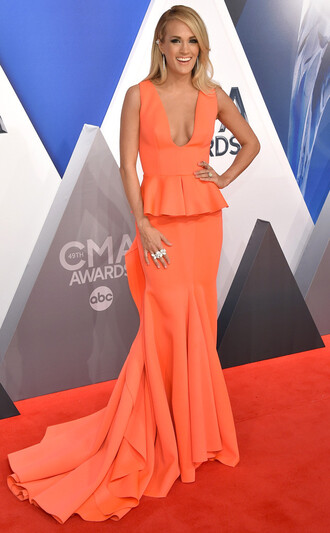 dress gown prom dress carrie underwood maxi dress plunge dress plunge v neck orange dress