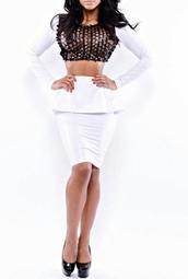 dress,2 piece skirt set,white dress,leather,peplum,peplum shirt,long sleeves,crop tops
