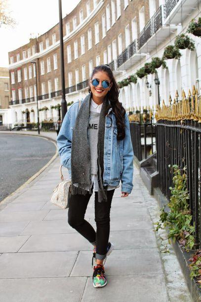 jacket white shirt grey sweater denim jacket grey scarf black jeans green sneakers blogger