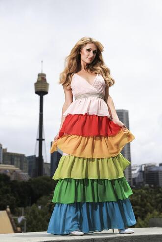 dress colorful maxi dress paris hilton editorial ruffle ruffle dress gown prom dress