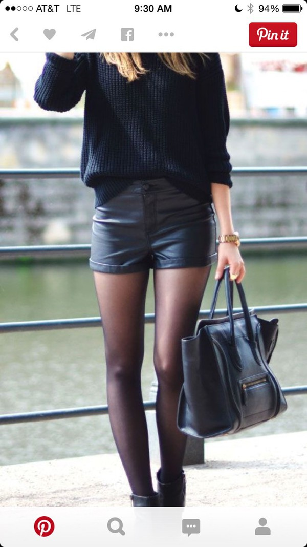 shorts leather shorts black shorts sweater black sweater tights boots black boots bag black bag celine bag hat fedora black hat fall outfits