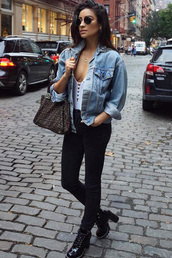 top,ankle boots,jacket,denim jacket,shay mitchell,instagram,fall outfits