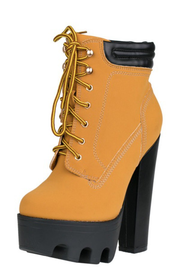 lug boots camel camel yellow