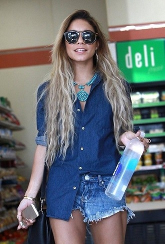 shirt vanessa hudgens denim shirt denim jacket blue shirt shorts jewels sunglasses