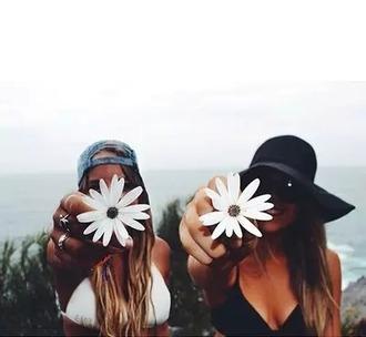 hat cap summer flowers girl