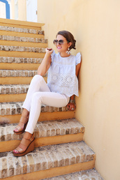 southern curls and pearls,blogger,top,pants,sunglasses,shoes,jewels,make-up,eyelet top,eyelet detail,blue top,light blue,white jeans,sandals,wedge sandals,wedges,round sunglasses,spring outfits