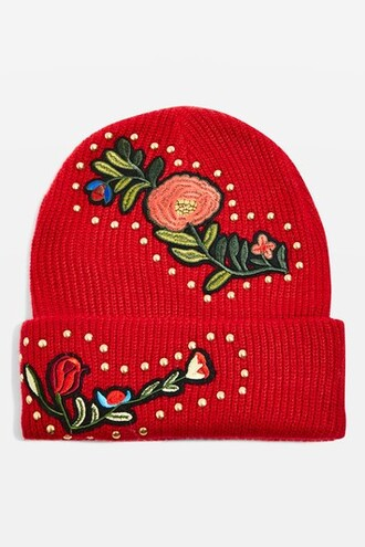 studded hat beanie floral red