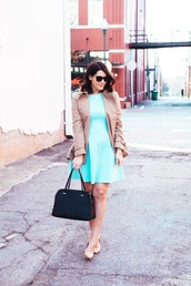 kendi everyday,blogger,jacket,aqua,skater dress,dress,coat,shoes,bag,jewels,sunglasses