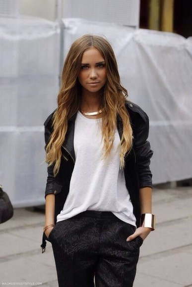 black white shirt gold necklace jewels pants black and white blouse black and white tank top love more leather jacket jacket