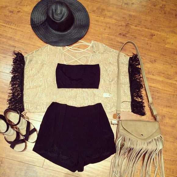 cream lace shirt backless black sleeves