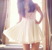 dress,white,white dress,flowers,floral,floral dress,ariana grande,summer dress,summer,cute,girly,pink,cute dress