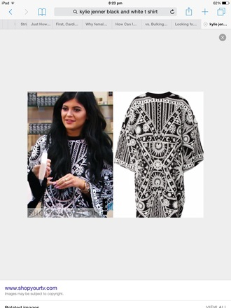 t-shirt kylie jenner pattern black and white moon and sun sun moon